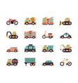 transport flat icons urban vehicles cars buses vector image vector image