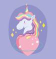 unicorn cartoon rainbow hair horn love heart vector image vector image