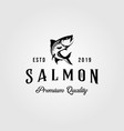 vintage salmon fish logo retro seafood label vector image