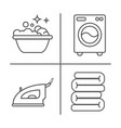 washing ironing clean laundry line icons vector image vector image
