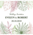 wedding invitation card in pastel colors tropical vector image vector image