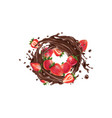 whole and sliced strawberries in a chocolate vector image vector image