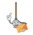 with envelope mop character cartoon style vector image vector image