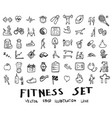 doodle sketch fitness icons eps10 vector image