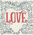 Love Ink drawing of flowers Card poster print for vector image