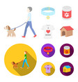 a man walks with a dog a collar with a medal vector image
