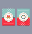 a set of posters or postcards christmas market vector image vector image