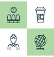 airport icons set collection of seats takeaway vector image