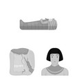 ancient egypt monochrome icons in set collection vector image