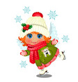 animated cute little girl in winter clothes vector image vector image