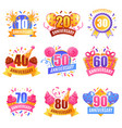 anniversary numbers festive set vector image vector image