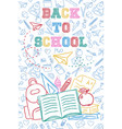 back to school color backpack with children doodle vector image