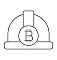 bitcoin miner hat thin line icon finance money vector image vector image