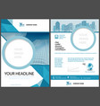 blue leaflet template with geometric elements vector image