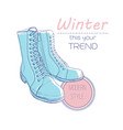 boots shoes for winter poster retro style design vector image vector image