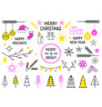 christmas line icons set vector image vector image