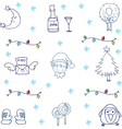 Christmas ornament set in doodle vector image