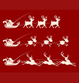 christmas sign with santa claus on a reindeer vector image