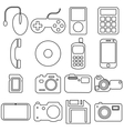 Collection flat icons with long shadow Multimedia vector image