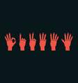 count on fingers gesture stylized hands showing vector image vector image