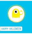 Cute cartoon yellow monster Blue background vector image vector image