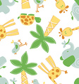 Cute jungle animals in a seamless pattern vector image