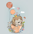 cute lion on cup with balloons vector image