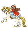 Cute princess riding on horse that bucks front vector image