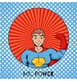 figure cartoon superhero with power gesture vector image vector image