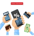 Finance Instruments Calculator Smartphone Money vector image