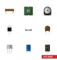 Flat icon device set of hdd resist unit and