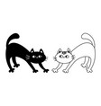 frightened cat arch back kitten set doodle linear vector image vector image