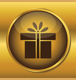 gold button web icon present box vector image vector image