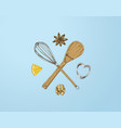 hand drawn baking logo template vector image