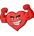 heart flexing muscles cartoon character vector image vector image