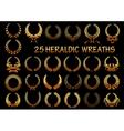 Heraldic golden laurel wreaths icons vector image vector image