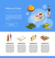 isometric hotel icons landing page template vector image vector image