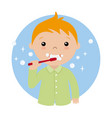 little boy brushing her teeth vector image