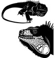 lizard iguana set silhouettes vector image vector image