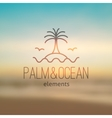 logo with palm seagulls island and waves vector image