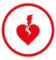 love heart crash rounded icon vector image