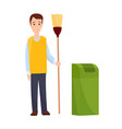 male janitor in uniform mopping floor man cleaner vector image
