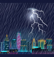 night cityscape with lightning flash and heavy vector image vector image