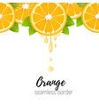 orange slice seamless border citrus juice drops vector image vector image
