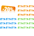 Percentage Discount Labels With Reflection Effect vector image