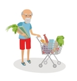 Senior man with shopping cart full of food vector image