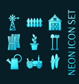 set farming blue glowing neon icons vector image