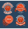 Set of basketball labels with balls and ribbons vector image