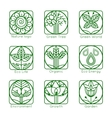 set outline tree monograms and logos abstract vector image vector image
