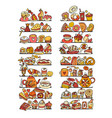 shelves with cakes and sweets collection sketch vector image